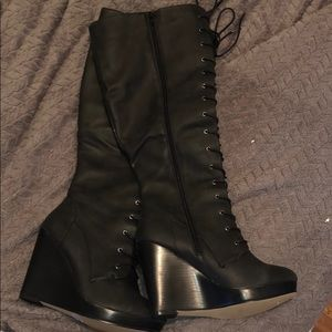 Torrid lace up knee high wedge boots- NEVER WORN
